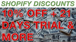 Shopify discounts plans: 10% OFF + 21 days trial + more...