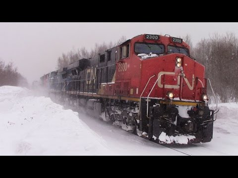 Thumbnail: Winter 2015 Railfanning - CN Train 305 at Berry Mills, NB during Snowstorm (March 18, 2015)