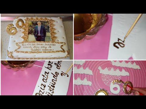 Yubiley tortu Şəkilli tort Qaynatamın ad gününə hazırladığım tort 60 il yubiley tortu