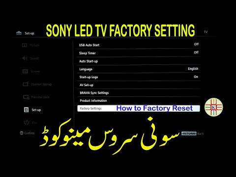 Sony LED TV Service Menu Code, Factory Setting and How to