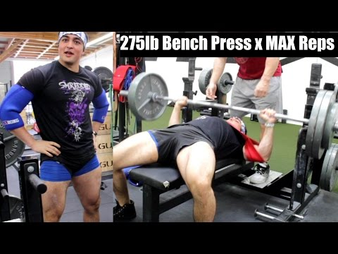 275LB Bench Press MAX REPS (With a Slingshot) Ft. Silent Mike
