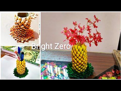 DIY Pista shell craft / Pineapple pen stand & flower pot | 5 minute craft