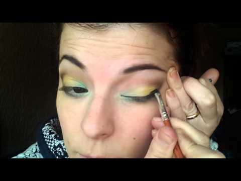 TUTORIAL COLOURFUL MAKEUP:green, yellow, brown thumbnail