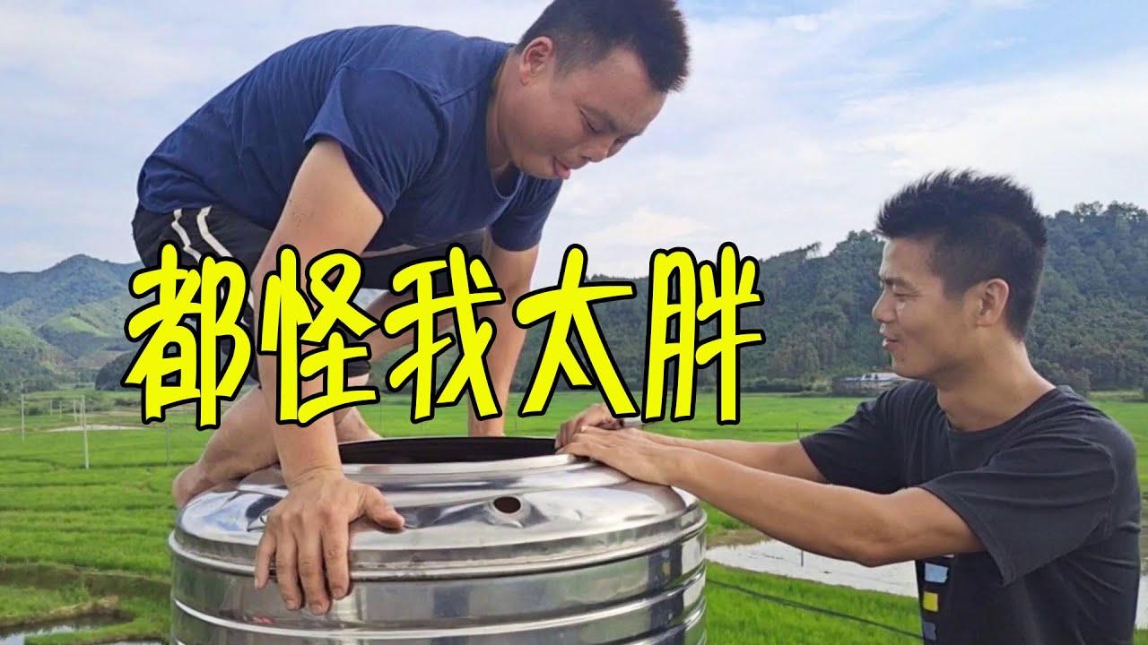 螃爺身手矯捷,大鐵桶說鑽就鑽進去了,可惜太胖,桶都被踩扁了【石頭秀】