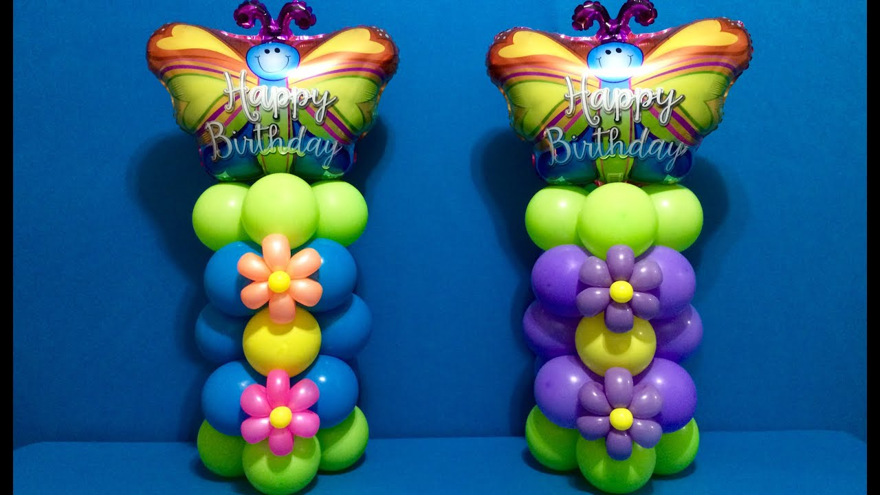 Happy Birthday Flowers And Balloons ~ Butterfly flower balloon columns! youtube