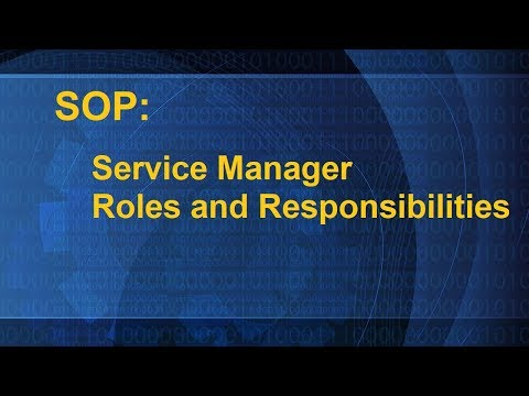 SOP: Service Manager Roles And Responsibilities
