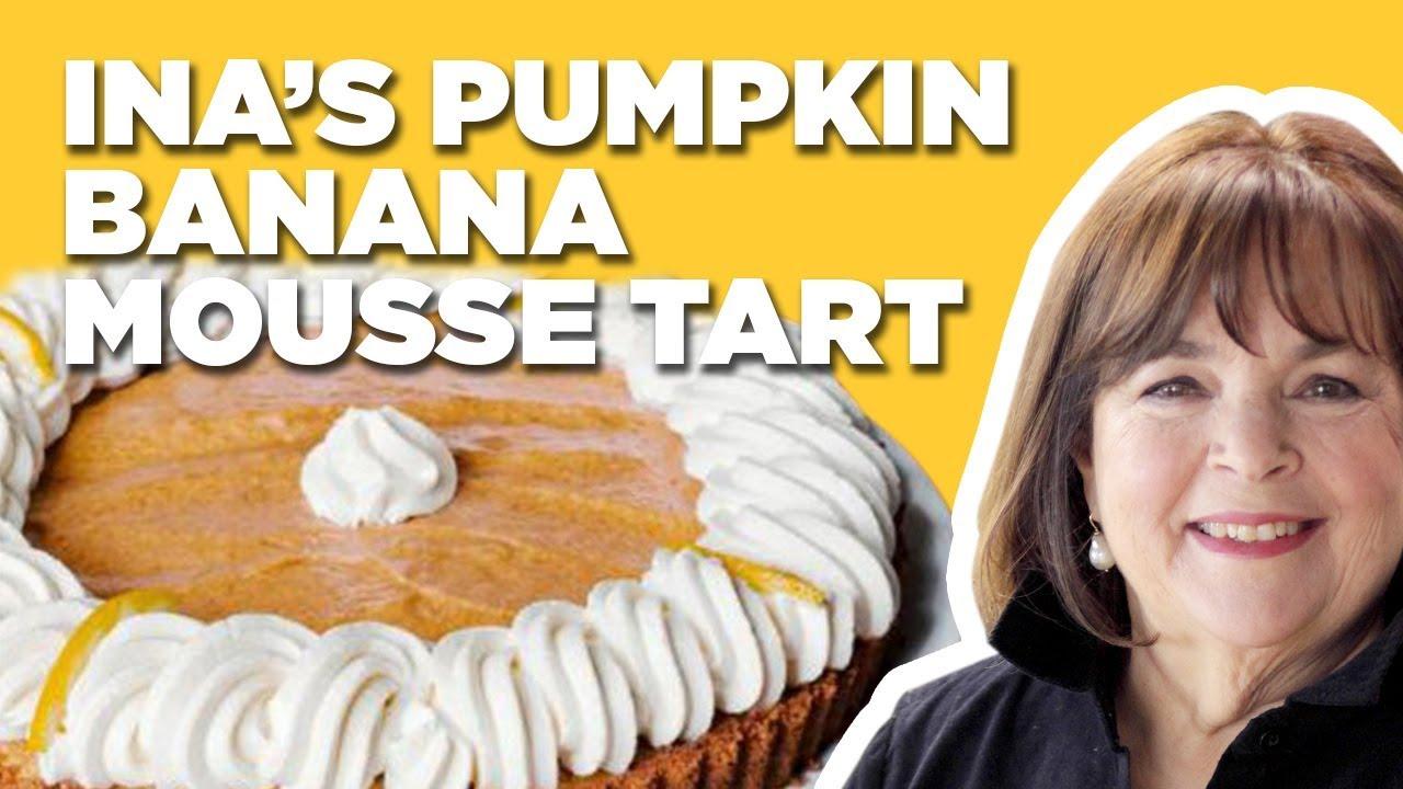 Barefoot Contessa Makes A Pumpkin Banana Mousse Tart For Thanksgiving Food Network Youtube