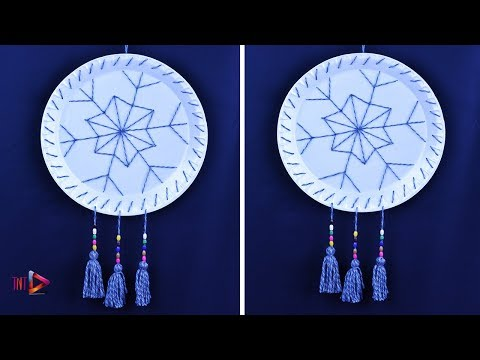 DIY Beautiful Wall Hanging From Disposable Plates | Waste Material Craft | One Time Plate Reuse Idea