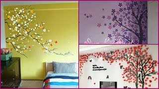 Wall Art Tree Design Ideas// Wall Painting// Cherry Blossoms Tree Decal