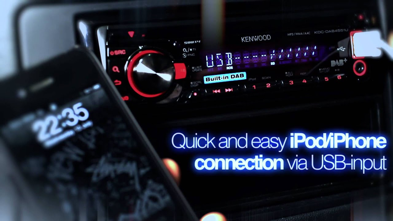 Kenwood In Car Digital Radio With Ipod Iphone Control Youtube