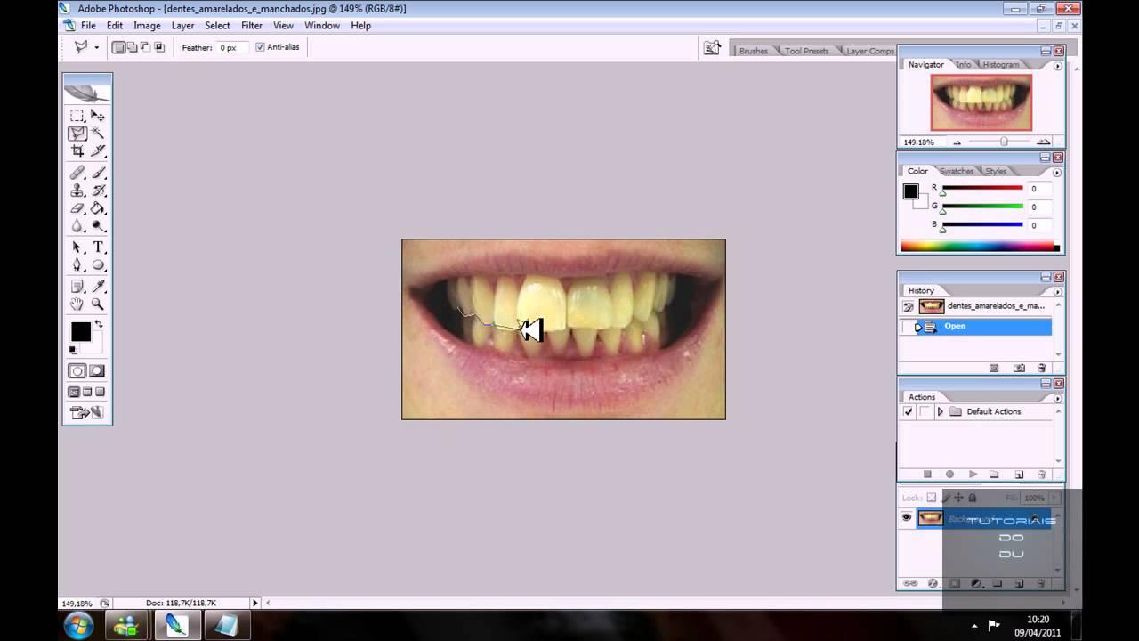 Como Clarear Os Dentes No Photoshop Cs2 Youtube