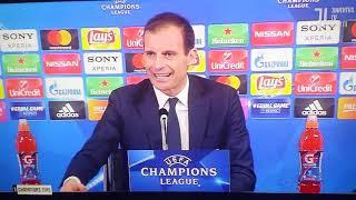 Allegri SCLERA durante conferenza stampa dopo Juventus-Tottenham 2-2 12/2/2018