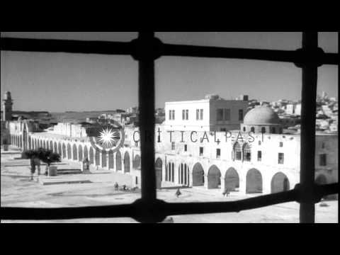 Mosque of Omar and various views of the old city of Jerusalem during 1948 Arab-Is...HD Stock Footage