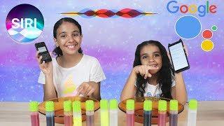 تحدى سيري ضد جوجل فى اختيار مكونات السلايم Siri vs. google choose slime ingredients