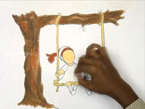 How to Draw The Kids Playing in Swing