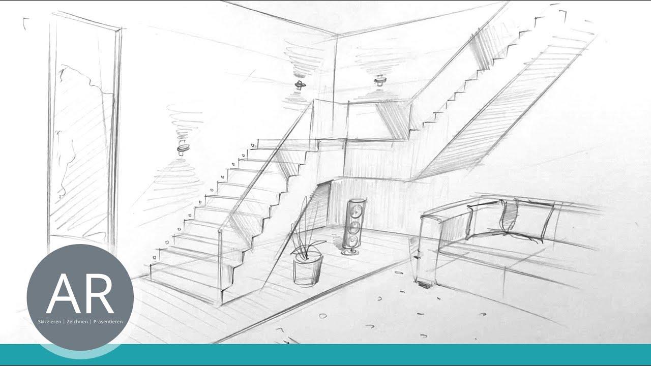 treppen zeichnen r ume zeichnen perspektivisch zeichnen lernen mappenkurs innenarchitektur. Black Bedroom Furniture Sets. Home Design Ideas