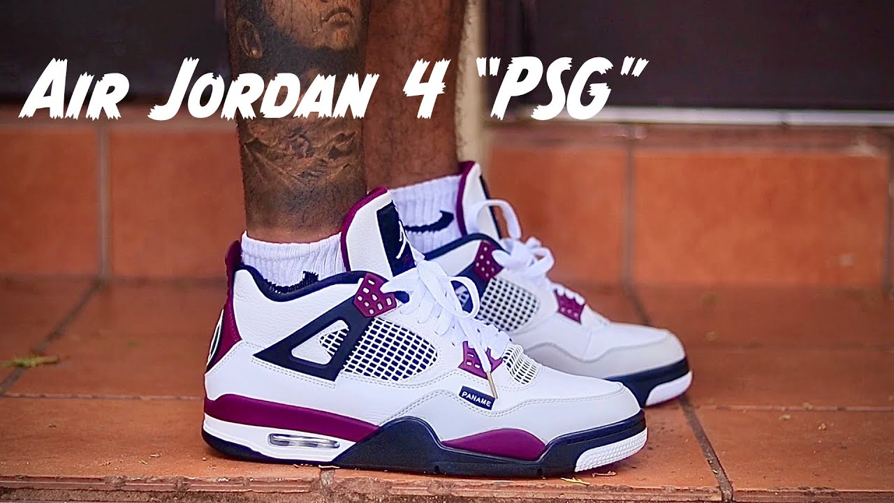 unboxing air jordan 4 psg with on feet footage
