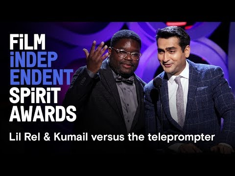 Lil Rel Howery & Kumail Nanjiani vs. teleprompter | 2018 Film Independent Spirit Awards