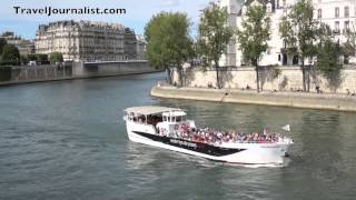 Ile-Saint-Louis, La Seine River & Boats in Paris, France