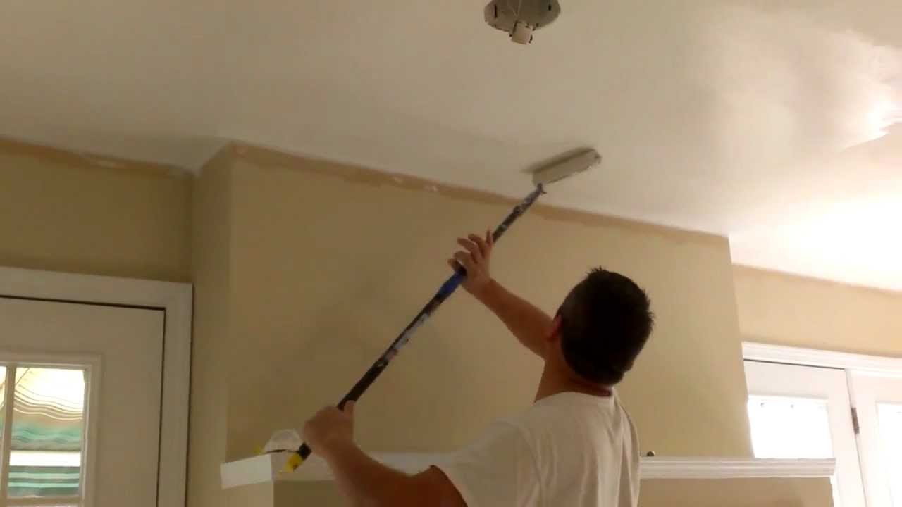 How to paint ceilings in 10 minutes youtube for Best paint finish for bathroom ceiling