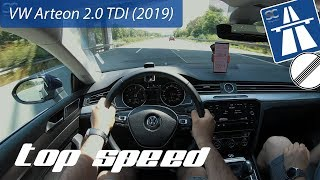 VW Arteon 2.0 TDI (2019) on German Autobahn - POV Top Speed Drive