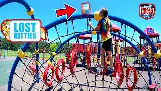 LOST KITTIES TOYS SCAVENGER HUNT COURSE AT THE PLAYGROUND WITH OUR AMERICAN NINJA WARRIOR KIDS!