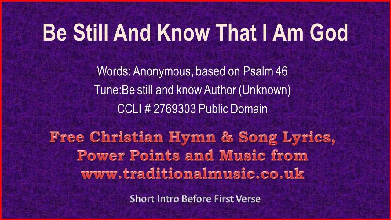 Be Still and Know that I Am God | GodSongs.net