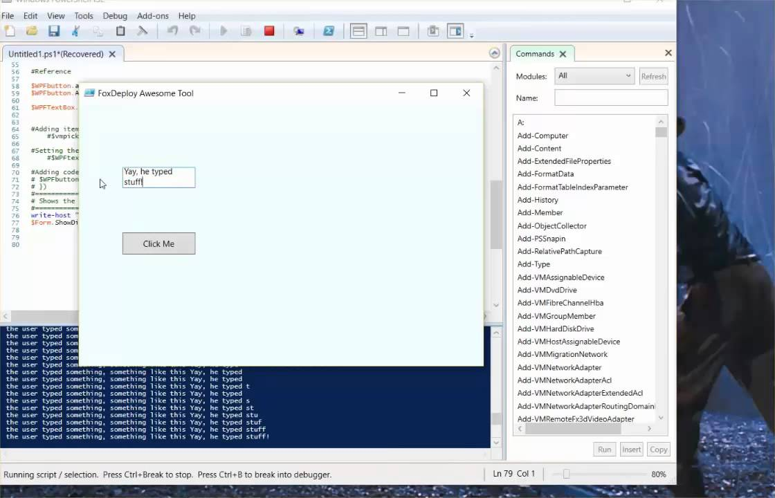 Part IV – PowerShell GUIs – how to handle events and create