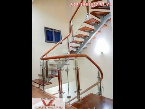 Lan can kính - Lắp đặt cầu thang xương cá lan can kính ở Nghĩa Tân Cầu Giấy Hà Nội (FULL HD)