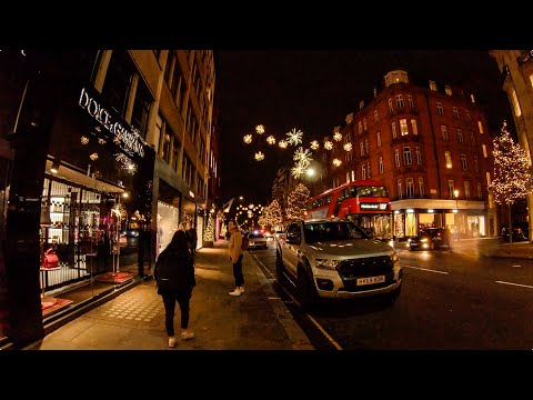 Walking In London: Sloane Street Christmas Lights (Knightsbridge To Sloane Square) [4K, Binaural]