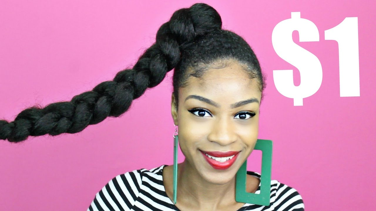 Braided Updo Styles For Natural Hair: Jumbo Braid Ponytail With Kanekalon Hair Natural Hair