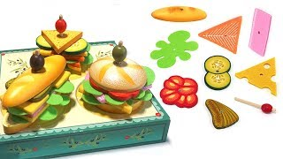 Toy  Hamburger & Sandwich Stand Make with Velcro Toys for Kids - Play Joy Pang