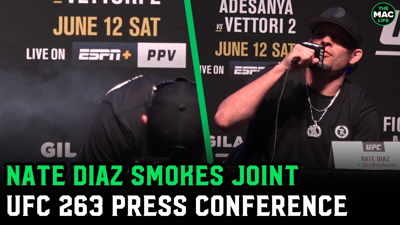 Nate Diaz smokes joint at UFC 263 press conference; Offers Brandon Moreno a toke