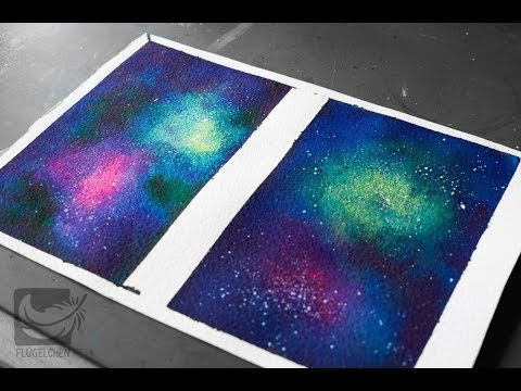Painting a galaxy using watercolors and gloss intensifier for How to paint galaxy