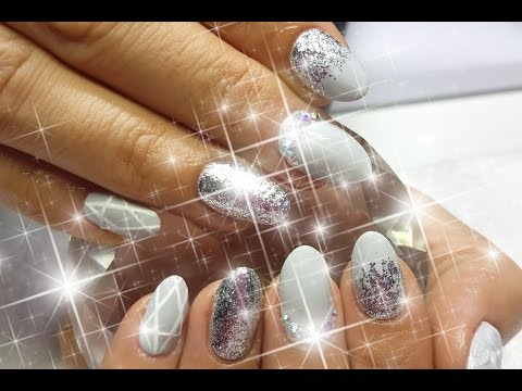 Acrylic Nails Grey White & Silver Mix & Match Nail Design