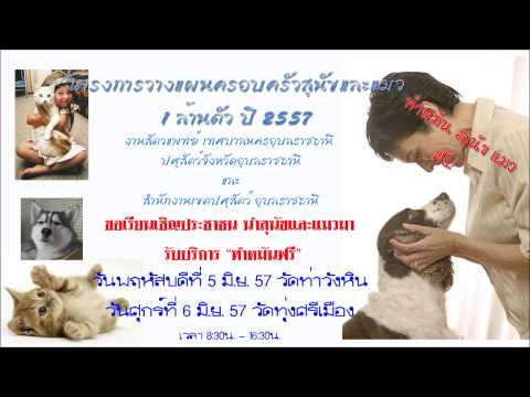 """โครงการ """" การวางแผนครอบครัวสุนัขและแมว 1ล้านตัว ปี 2557"""" อุบลราชธานี"""
