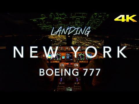 Landing New York   B777 Cockpit View 4K
