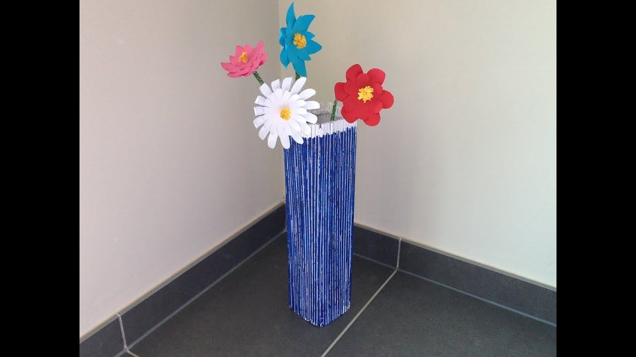Howto Make Newspaper Flower Vase Flowers Best Out Of Waste Diy