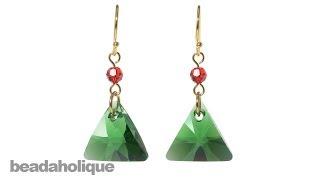 How to Make SWAROVSKI ELEMENTS Triangle Pendant Christmas Earrings