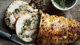 Курица,фаршированная чесноком и каштанами