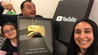 Unboxing Our 1 Million Subscribers Gold YouTube Play Button! + Roller Coaster POV!
