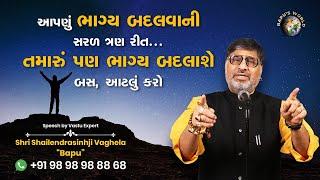આપણું ભાગ્ય બદલવાની સરળ ત્રણ રીત | Shri Shailendrasinhji Vaghela | Bapu