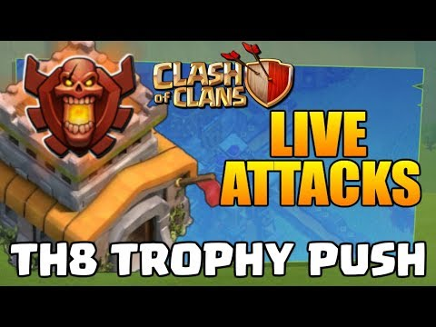 Clash of Clans TH8 Attack Strategy - CoC Trophy Push Series #2 - LIVE BATTLES!