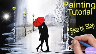 How to paint COUPLE kissing red UMBRELLA . Rainy Day painting Tutorial Step by Step in acrylic