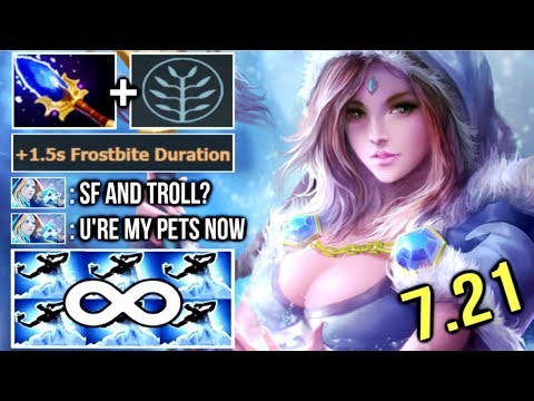 OMG FREEZE TO DEATH Scepter Crystal Maiden vs SF Troll New +20 Armor Field 7.21 Epic Gameplay Dota 2