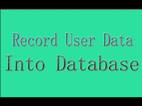 Save Data From Html Form Into Database