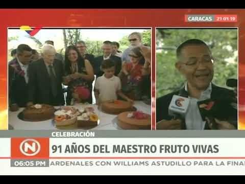 Fruto Vivas celebra su cumpleaños 91 con ministros de Cultura y Ecosocialismo