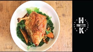 Crispy Chicken With Smokey Sweet Potatoes, Chickpeas And Wilted Cabbage