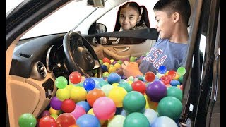 FUNNY PRANK on Big Bro CAR with Lots of BALLS | Toys Academy
