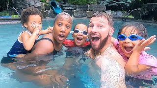 Swimming in the Rain in our New Swimming Pool!!